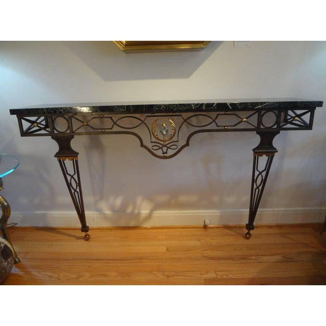 Black French Neoclassical Gilbert Poillerat Style Wrought Iron Console Table For Sale - Image 8 of 10