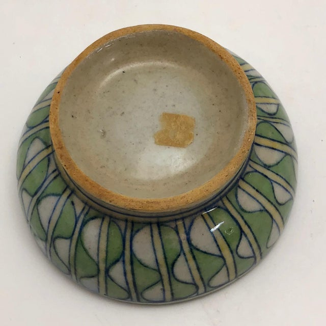 Early 20th Century Green and White Patterned Tin Glazed Small Ceramic Bowl For Sale - Image 11 of 13