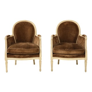 Brown Louis XVI Style Bergères - A Pair For Sale