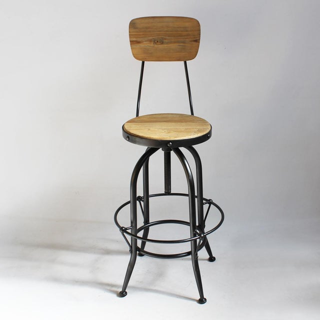 Reclaimed Wood & Iron Barstool - Image 2 of 4