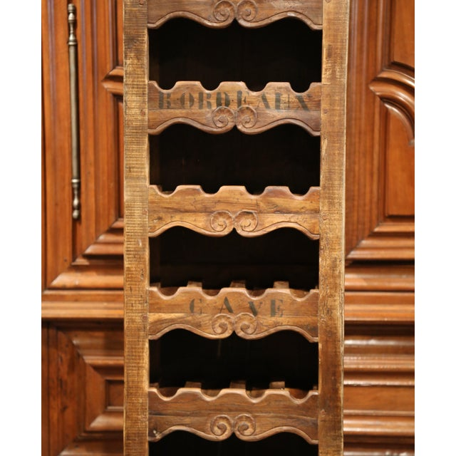 Exquisite French Louis Xv Carved Pine 28 Wine Bottles Holder Cabinet