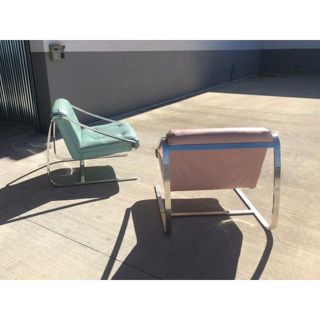1970's Vintage Grasshopper Chrome Steal Lounge Chairs- A Pair For Sale - Image 4 of 11