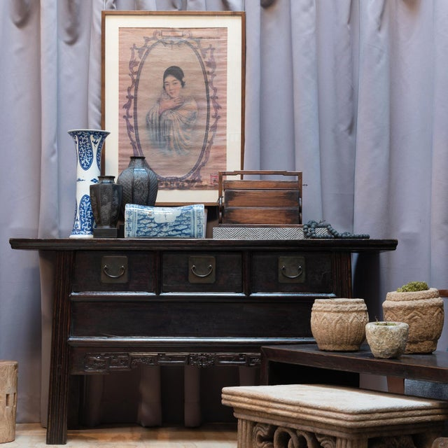 Chinese Three Drawer Table With Carved Apron For Sale - Image 9 of 10