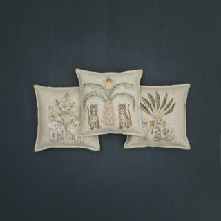 Tigers With Pineapple Palm Tree Pillow Preview