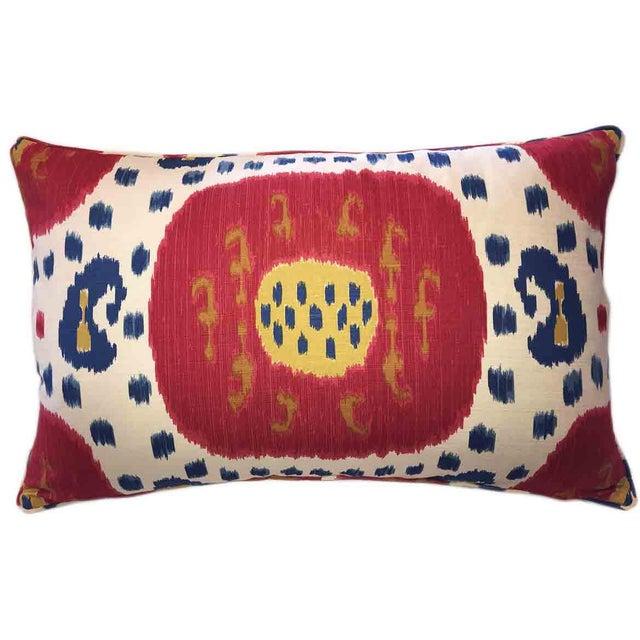 Boho Chic Brunschwig & Fils Samarkand Ikat Bolster Pillow For Sale - Image 3 of 3