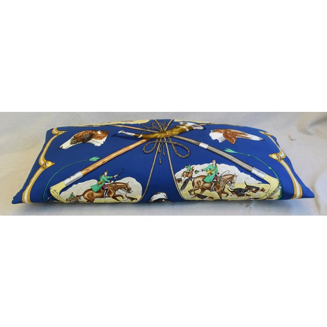 """Feather Hermes Le Laissed Courre Hunt & Hounds Silk Feather/Down Pillow 34"""" x 17"""" For Sale - Image 7 of 12"""