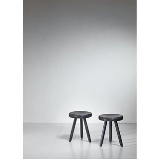 Charlotte Perriand Pair of High Ebonized Stools, France