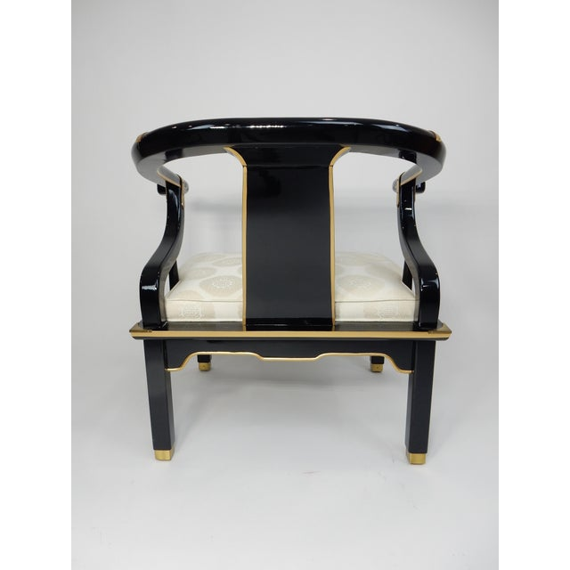 Century Black & Gold Chinoiserie Horseshoe Back Chairs - A Pair - Image 11 of 11