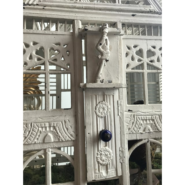 Antique White Deutch Birdhouse on Iron Stand For Sale - Image 4 of 9