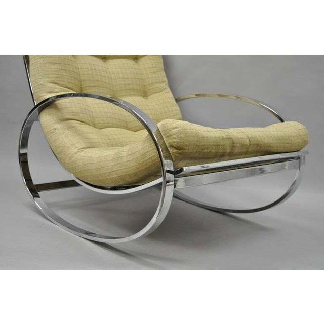 1960s Mid Century Modern Renato Zevi Selig Ellipse Milo Baughman Chrome Rocking Chair For Sale - Image 5 of 10