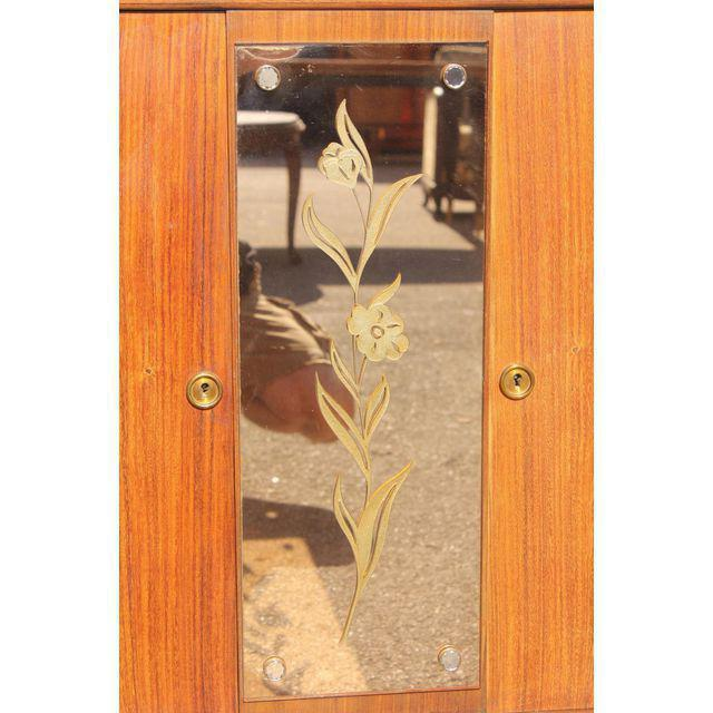 Glass 1940s French Art Deco Exotic Rosewood Cut Glass Panel Credenza For Sale - Image 7 of 10