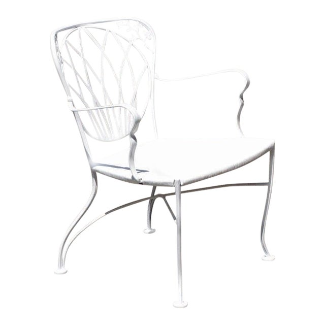 1960s Art Nouveau Inspired Woodard Outdoor Patio Armchairs - Set of 4 For Sale
