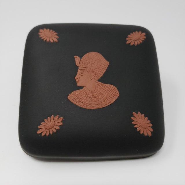 Stone Vintage Wedgewood Black Basalt Egyptian Motif Trinket Box For Sale - Image 7 of 7