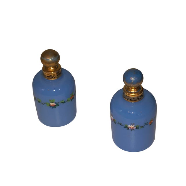 Blue Antique Opaline Perfume Bottles - a Pair For Sale - Image 8 of 8