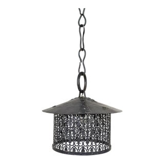 Arts & Crafts Black Iron Lantern W/ Decorative Punched Shade For Sale