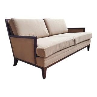 Henredon Furniture Barbara Barry Mendicino Walnut Sofa in Wet Sand Brown Short Nap Velvet For Sale