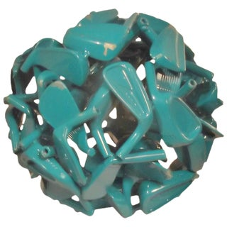 Teal Golf Sculpture Sphere by Jeff Diamond