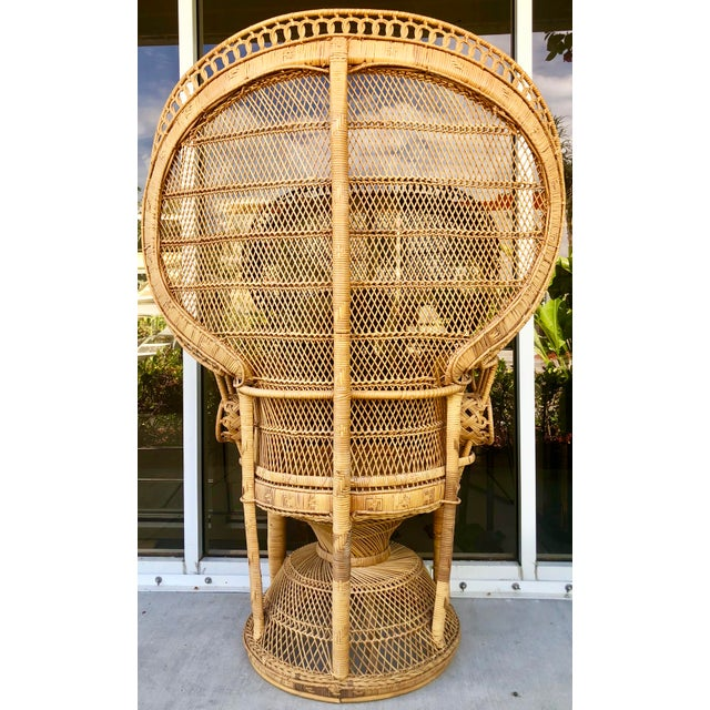 1970s Vintage Rattan Peacock Chair For Sale - Image 5 of 11