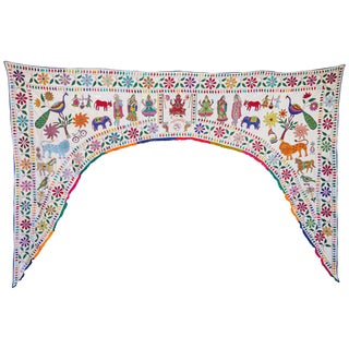 Indian Embroidered Archway Turan For Sale