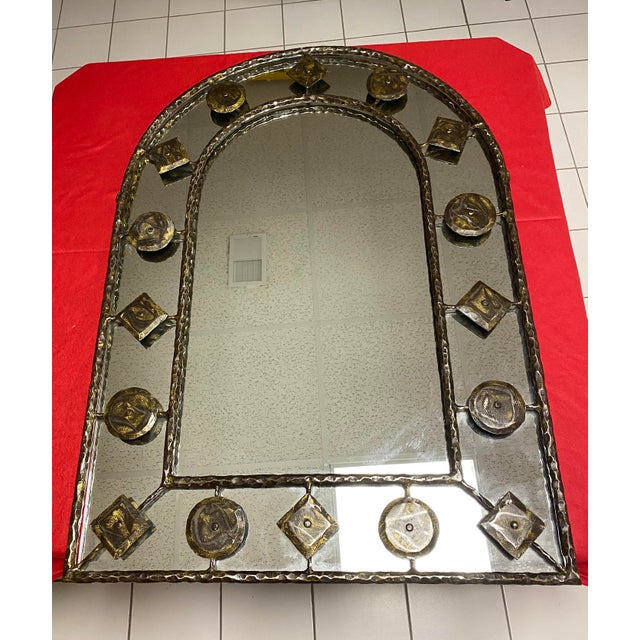 Gold Holly Hunt Rustic Hammered Iron Decorative Mirror For Sale - Image 8 of 8