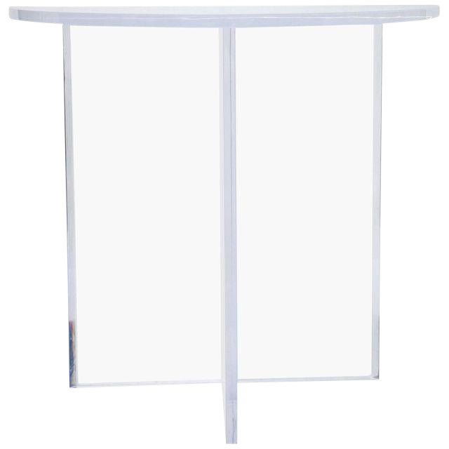 Custom Designed Charles Hollis Jones Style Demilune Clear Lucite Console - Showroom Sample For Sale