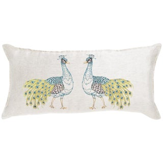 2010s French Ivory Linen Peacock Lumbar Ivory