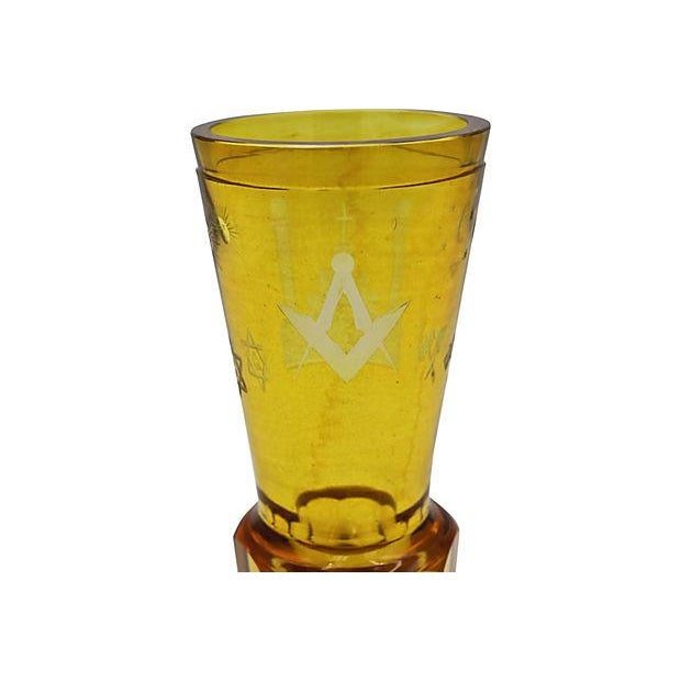 Glass Antique Masonic Cut Glass Bud Vase For Sale - Image 7 of 7