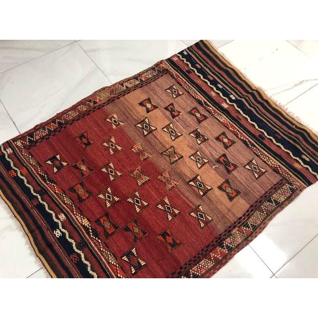 Textile Turkish Handwoven Vintage Kilim Rug - 3′8″ × 4′10″ For Sale - Image 7 of 11