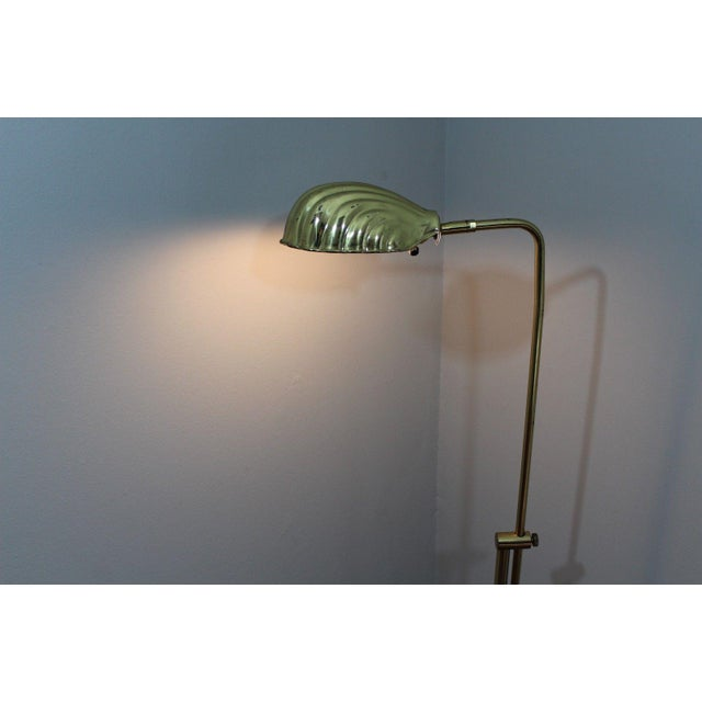 Mid-Century Modern Adjustable Gold Brass Clam Shell Floor Lamp Light - Image 4 of 10