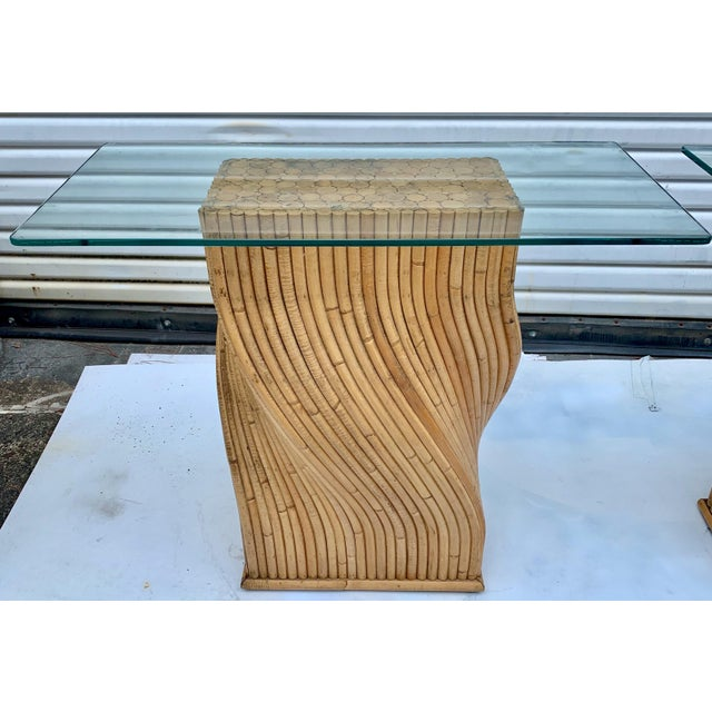 Bamboo Pair of Pencil Bamboo Modern Console Tables Att. To Crespi For Sale - Image 7 of 10