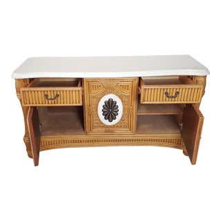 Traditional Bamboo Woven Rattan Tropical Credenza For Sale