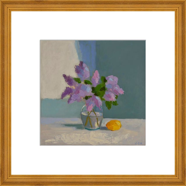 """Small """"Lilac With Lemon"""" Print by Anne Carrozza Remick, 20"""" X 20"""" For Sale"""