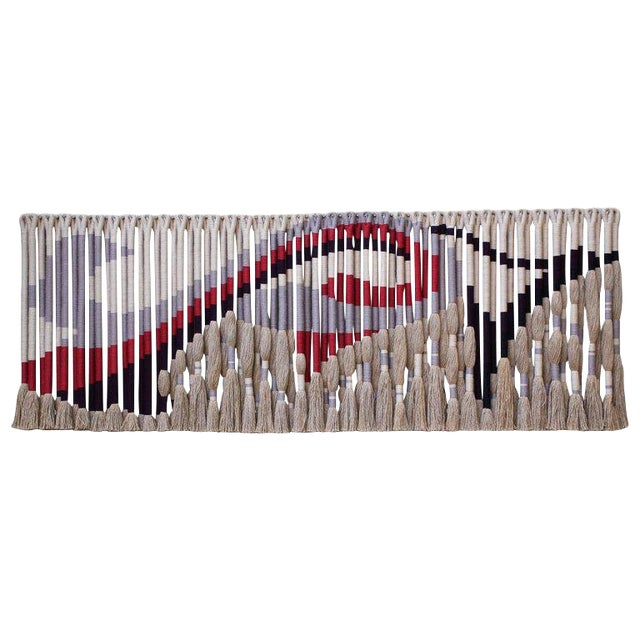 Privately Commissioned Jane Knight Fiber Art Installation 'Red and Gray Wave' For Sale