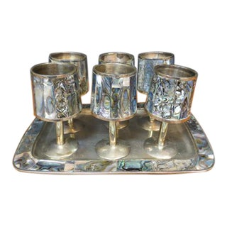 Vintage 1960s Mid-Century Modern Alpaca Silver and Abalone Cordial Glasses With Tray - Set of 7 For Sale