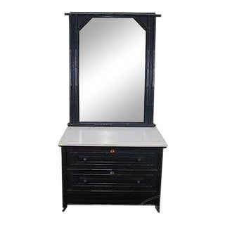 Antique 19th Century Ebonized Faux Bamboo Marble Top Dresser W/ Mirror For Sale