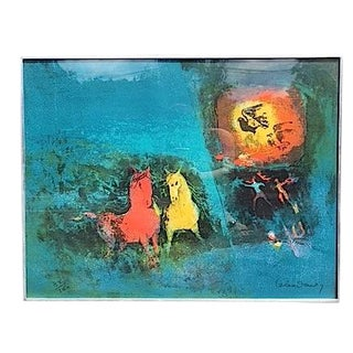 Untitled Lithograph, Horses and Birds by Lebadang For Sale