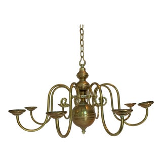 1970s Un-Lacquered Brass Eight Arm Chandelier For Sale