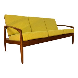Chartreuse and Teak Sofa by Edmund Jorgensen - Made in Denmark For Sale