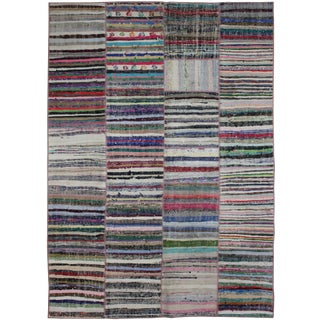 "Hand Knotted Antique Patchwork Rug - 9'3"" X 6'6"" For Sale"