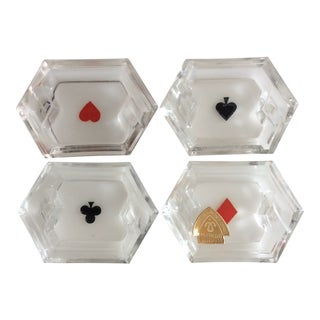 Crystal Card Suit Mini Ashtrays - Set of 4 For Sale