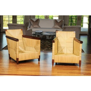 Superb Pair of Mahogany and Wicker Loungers by John Hutton for Donghia Preview