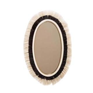 Cheri Black and Cream Leather Mirror for Living Room, Bed Room, Bathroom, Decorative Fur Mirror, Wall Hanging Mirror For Sale