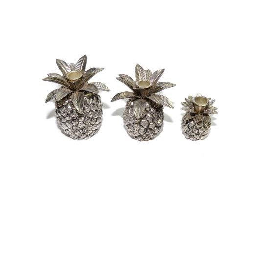 Vintage Silver Pineapple Candle Holders - Set of 3 For Sale - Image 5 of 6