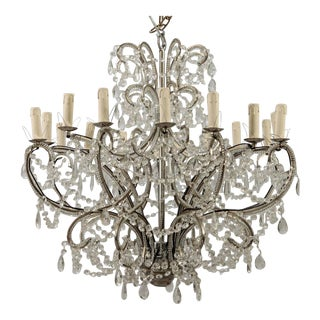 Sixteen Arm Silver Metal Highly Beaded French Chandelier For Sale