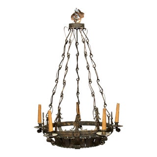 Dark Bronze Spanish Crown Form Six-Light Fixture with Original Decorative Chain