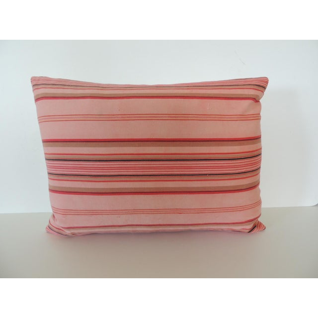 1950s Vintage French Pink and Red Stripes Lumbar Decorative Pillow For Sale - Image 5 of 5