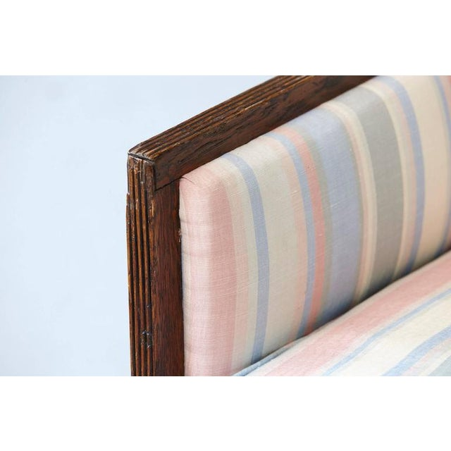 Pair of Italian Neoclassical Style Bergères in Pastel Striped Moiré Taffeta For Sale - Image 9 of 10