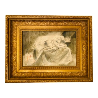 Vintage Nude Female on Sofa Charcoal Pencil Sketch Drawing in Baroque Carved Gold Gilt Gesso Frame For Sale