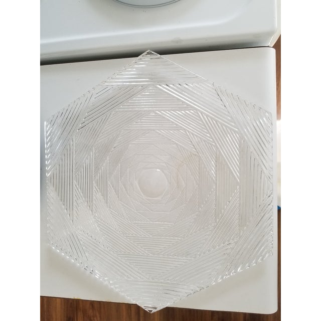 1980s Vintage Tiffany & Co Hexagon Shaped Crystal Tray Signed by J Reidel For Sale - Image 5 of 6