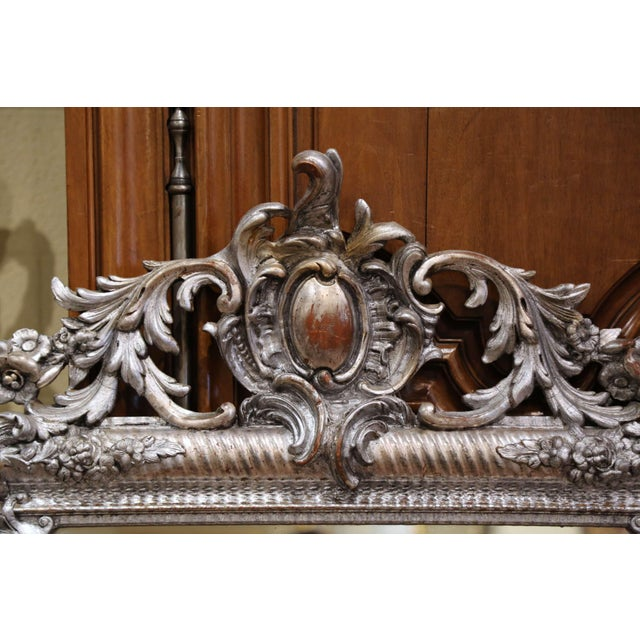 Late 19th Century Mid-19th Century French Louis XV Hand Carved Silvered Wall Mirror For Sale - Image 5 of 11